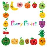 Karakters van het glimlachen van vruchten Kader stock illustratie