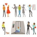 Karakters in verschillende scènes Paniek, vrees en angst vector illustratie