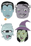 Karakters voor Halloween Stock Afbeelding