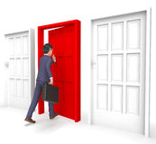 Karakterzakenman Indicates Choices Entrepreneur en 3d Manier royalty-vrije illustratie