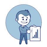 Karakterzakenman met grafiek van inkomens Stock Fotografie
