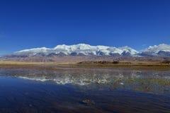 Karakul lake inverted image Royalty Free Stock Images