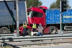 Karambol dwa ciężarówki w Latvia, na A8 drodze, zdarzał się zdjęcie royalty free