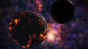 Karambol dwa planety na tle piękny wszechświat ilustracji
