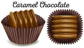 Karamelchocolade in bruine kop Stock Afbeelding