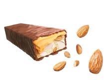 Karamell för chokladstång med muttern eller mandeln, söt anstrykning, frasigt rån stock illustrationer