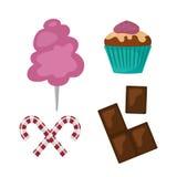 Karamell för godis för ferie för kaka för choklad för design och för mellanmål för klubba för konfekt för socker för efterrätt fö royaltyfri illustrationer