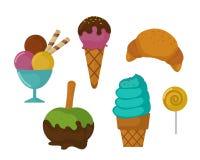 Karamell för godis för ferie för kaka för choklad för design och för mellanmål för klubba för konfekt för socker för efterrätt fö vektor illustrationer