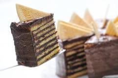 Karamellkuchen mit Belag auf Metalllöffel, Geburtstagskuchen auf weißer Platte, Konditorei, Fotografie für Shop Stockfotografie