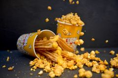 Karamelpopcorn Churros Royalty-vrije Stock Afbeelding