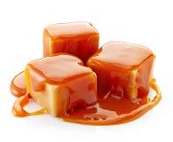 Karamelsuikergoed en karamelsaus Royalty-vrije Stock Foto's