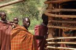Karamojong wieśniacy, Uganda obraz royalty free