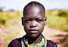 Karamojongkind in Oeganda royalty-vrije stock foto's