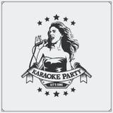 Karaoke świetlicowy emblemat dziewczyna śpiew Zdjęcie Stock