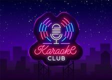 Karaoke Świetlicowy logo w Neonowym stylu Neonowy znak, jaskrawy śródnocny neonowy reklamowy karaoke Lekki sztandar, jaskrawa noc royalty ilustracja