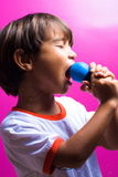 Karaoke. Boy singing with emotion a Karaoke Royalty Free Stock Photography