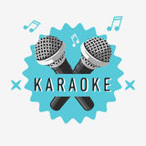 Karaoke-Aufkleber-Zeichen-Design mit Mikrofon-Illustrationen Stockfotos