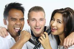 Karaoke avec des amis Photographie stock