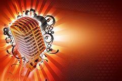 Karaoke Background. Design. Cool Retro Style Microphone with Floral Rays and Lights Background. Horizontal Karaoke Theme. Ready to Use Copy Space Stock Image