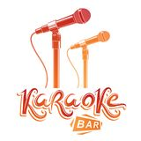 Karaoke bar lettering, vector microphone emblem. Leisure and rel. Axation lifestyle presentation Royalty Free Stock Photo