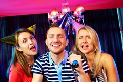 In karaoke bar Royalty Free Stock Images