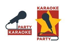 Karaoke baru i klubu wektorowe etykietki lub logotypu projekta kolekci set Zdjęcie Royalty Free