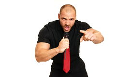 Karaoke with big man Stock Images