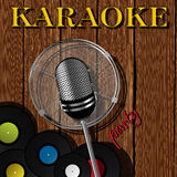 Karaoke card. Party card with microphone for karaoke events Stock Images