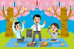 Karaoke in cherry blossom viewing. Business person enjoying Karaoke in cherry blossom viewing vector illustration