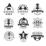 Karaoke Club Black And White Emblems. In Classic Style Vector Monochrome Graphic Design. Logo Set With Text On White Background stock illustration