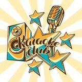 Karaoke club design. Music event background. Illustration with microphone and acoustics in retro style.  Stock Photos