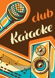 Karaoke club poster. Music event banner. Illustration with microphone and acoustics in retro style. Karaoke club poster. Music event banner. Illustration with Stock Photography