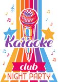 Karaoke club poster. Music event banner. Illustration with microphone in retro style.  stock illustration