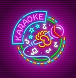 Karaoke club for singing with microphone neon Stock Images