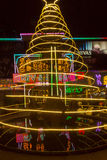 Karaoke colored street neons and lights in Siem Reap, Cambodia Stock Images