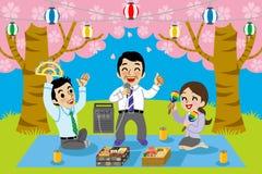 Karaoke dans le visionnement de fleurs de cerisier illustration de vecteur