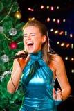 Karaoke de la Navidad Fotos de archivo libres de regalías