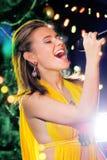 Karaoke de la Navidad Fotografía de archivo