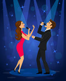 Karaoke elegante di canto delle coppie in scena in club royalty illustrazione gratis