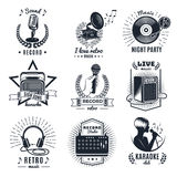 Karaoke Elements Monochrome Vintage Emblems vector illustration