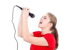 Karaoke girl singing Stock Photo