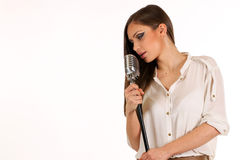 Karaoke Girl Singing isolated on white background Royalty Free Stock Photo