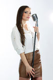 Karaoke Girl Singing isolated on white background Royalty Free Stock Photography