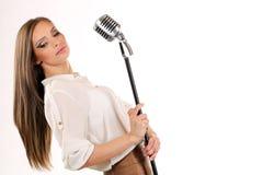 Karaoke Girl Singing isolated on white background Stock Photography