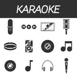 Karaoke icon set Royalty Free Stock Photos