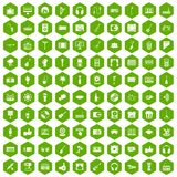100 karaoke icons hexagon green. 100 karaoke icons set in green hexagon isolated vector illustration Royalty Free Illustration