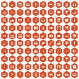 100 karaoke icons hexagon orange. 100 karaoke icons set in orange hexagon isolated vector illustration vector illustration