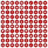 100 karaoke icons hexagon red. 100 karaoke icons set in red hexagon isolated vector illustration Stock Image