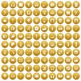 100 karaoke icons set gold. 100 karaoke icons set in gold circle isolated on white vectr illustration stock illustration