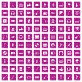 100 karaoke icons set grunge pink. 100 karaoke icons set in grunge style pink color isolated on white background vector illustration Stock Photo